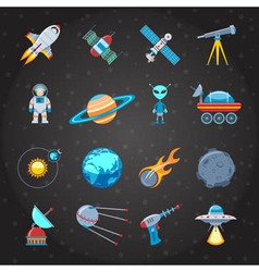 Space and astronautics icons set vector