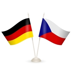 Table stand with flags of germany and czech vector