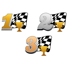 Checkered racing flag with trophy vector image