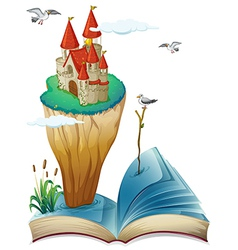 A book with an island with a castle vector image vector image