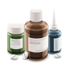 Bottles with medical drugs vector image vector image