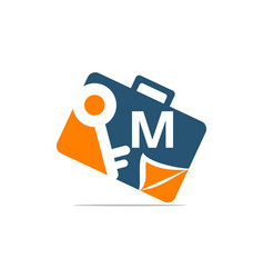 Briefcase key document initial m vector