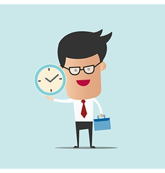 Business man hold bag and clock vector