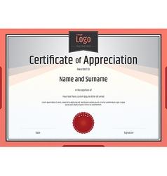 Certificate of appreciation template orange vector