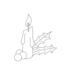Christmas candle and holly icon outline style vector image