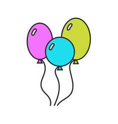 colored balloons flat icons on a white background vector image