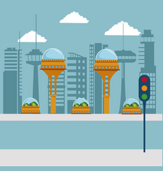 colorful scene futuristic city metropolis with vector image