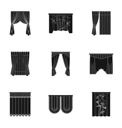 Curtains lambrequins cornice and other web icon vector