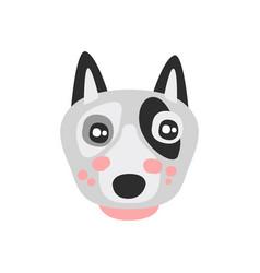 cute bull terrier dog face funny cartoon animal vector image