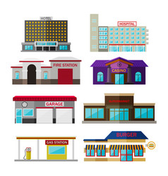 different shops buildings and stores flat icon vector image