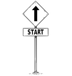 Drawing of one way arrow traffic sign with start vector