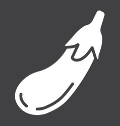 Eggplant solid icon vegetable and diet vector