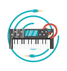 Electric keyboard with headphone concept music vector