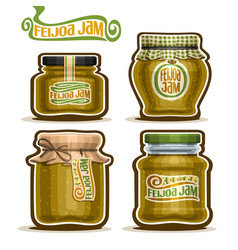 Feijoa jam in glass jars vector