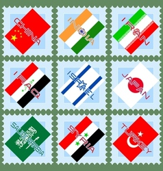 Flags of the countries of Asia vector image