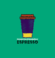 flat icon design collection cup of espresso vector image