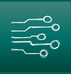 Hand drawn circuit board icon doodle scetch vector