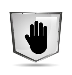 Hand symbol shield steel icon vector