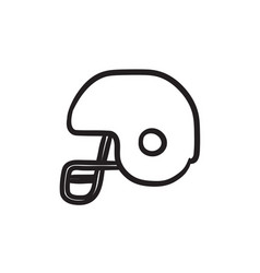 Hockey helmet sketch icon vector
