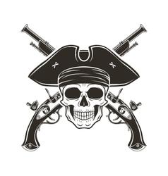 Jolly roger skull in cocked hat evil vector