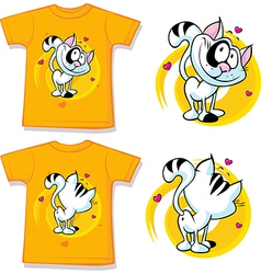 Kid shirt with cute cat printed vector