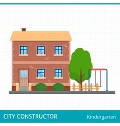 Kindergarten building with kids playground vector