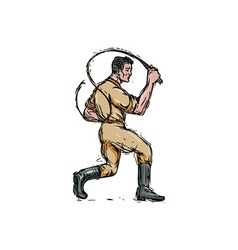Lion tamer bullwhip isolated drawing vector
