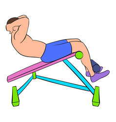 Man doing abs crunches on the bench icon cartoon vector