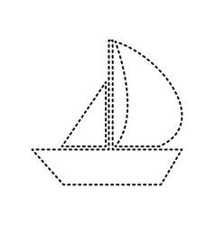 Sail boat sign black dashed icon on white vector