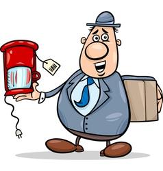 Salesman with coffee maker cartoon vector