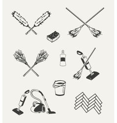 Set of cleaning emblems badges labels and vector image