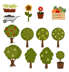 Set of trees and gardening icons set of trees and vector