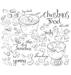 Set with festive fondue isolated on white cheese vector