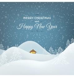 Snow mountains landscape Christmas card vector image