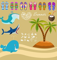 Summer background and design elements vector image vector image