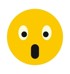 Surprised smiley icon flat style vector image