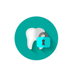 tooth icon isolated in flat design style vector image vector image