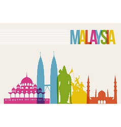 Travel Malaysia destination landmarks skyline vector image