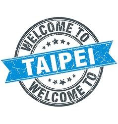 Welcome to taipei blue round vintage stamp vector