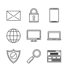 white background with monochrome icons of e vector image