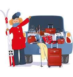 Woman shopping for a ski trip vector image