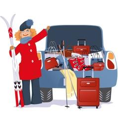 Woman shopping for a ski trip vector image vector image