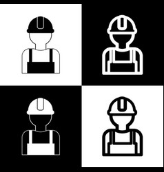 Worker sign black and white icons and vector