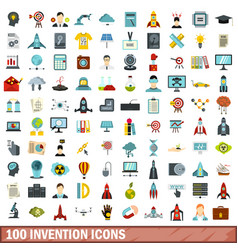 100 invention icons set flat style vector