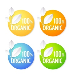 Organic plant labels set vector