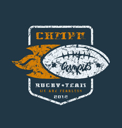 Rugby team badge with shabby texture vector