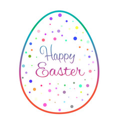 Beautiful outline easter egg with colored dots vector