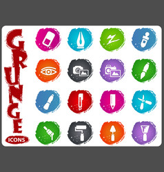 Art tools icons set in grunge style vector