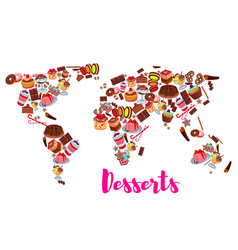World map of cake cupcake donut candy desserts vector