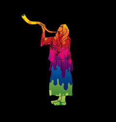 jew blowing the shofar kudu horn blower vector image